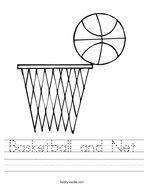 Basketball and Net Handwriting Sheet