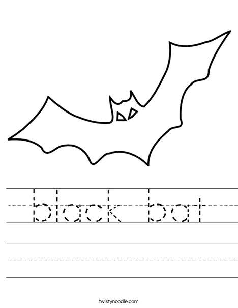 black bat Worksheet - Twisty Noodle