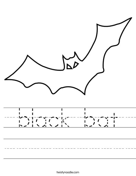 Halloween Bat Worksheet - Twisty Noodle