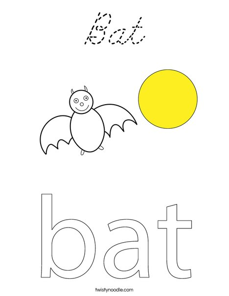Bat in a circle Coloring Page
