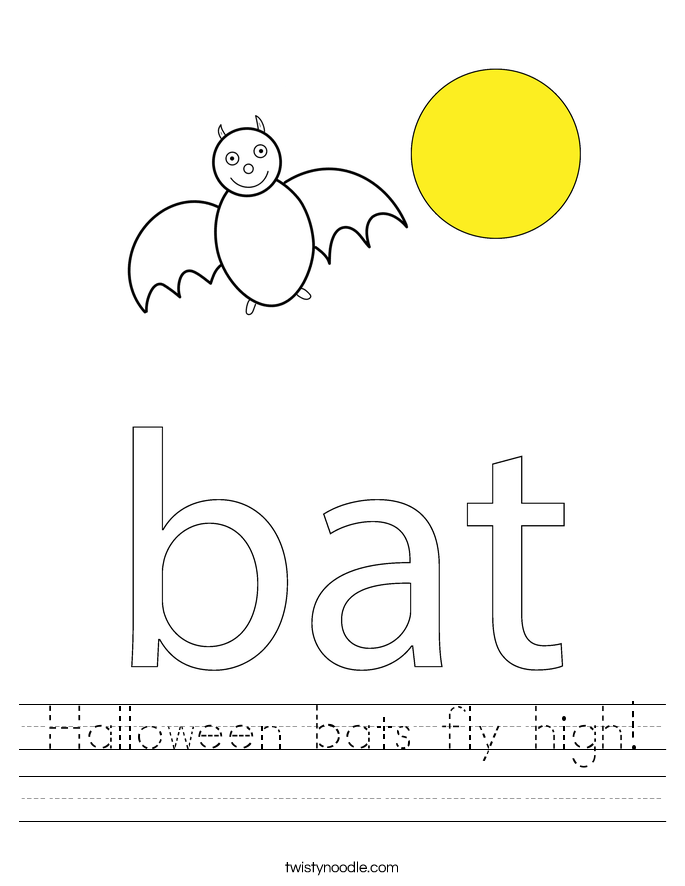 Halloween bats fly high! Worksheet