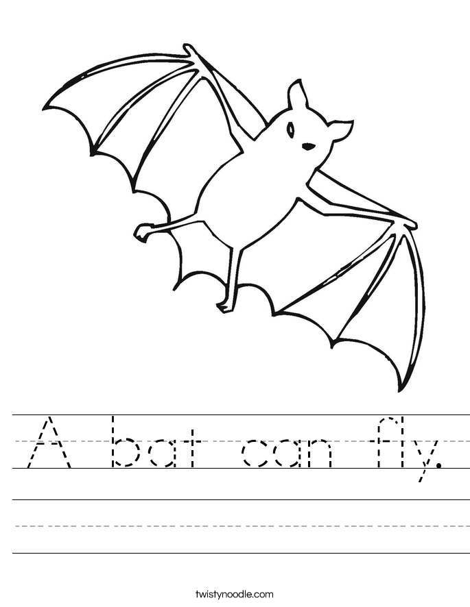 A bat can fly. Worksheet