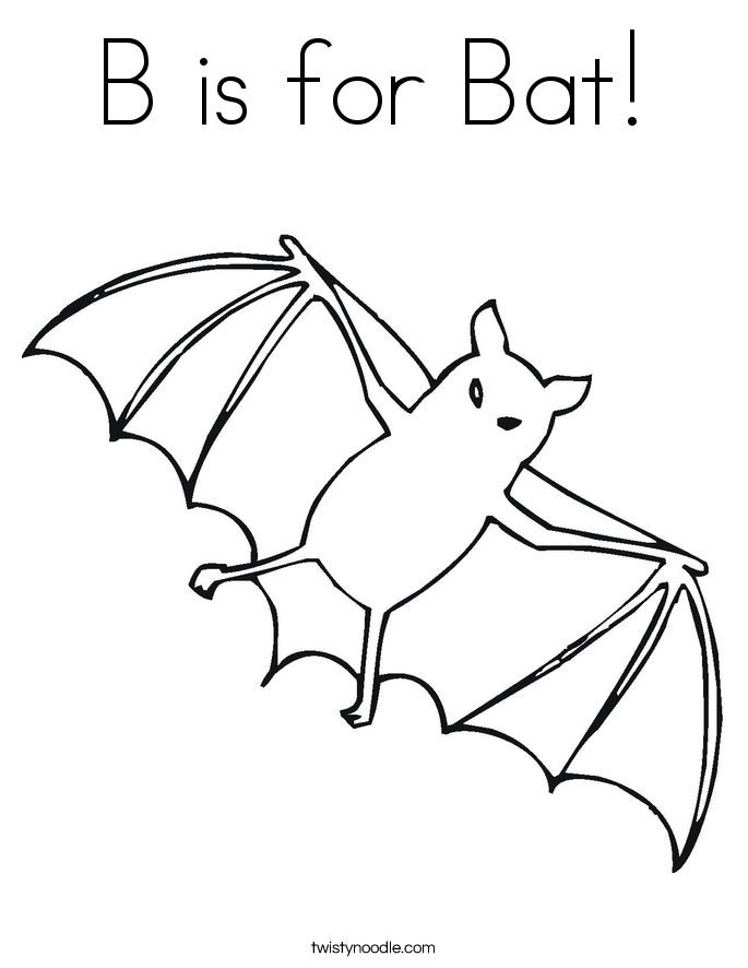 B is for Bat Coloring Page Twisty Noodle