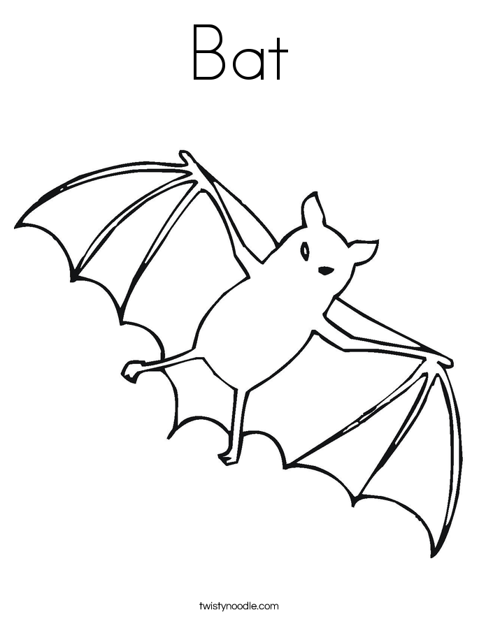 bat coloring page twisty noodle - Bats Coloring Pages