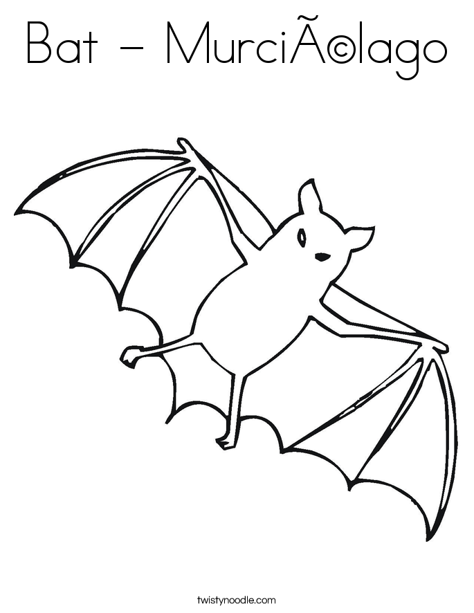 Bat - Murciélago Coloring Page