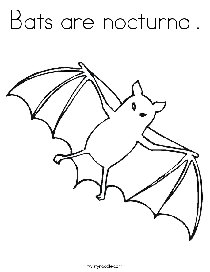 Bats are nocturnal Coloring Page Twisty Noodle