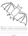 Bats are nocturnal. Worksheet