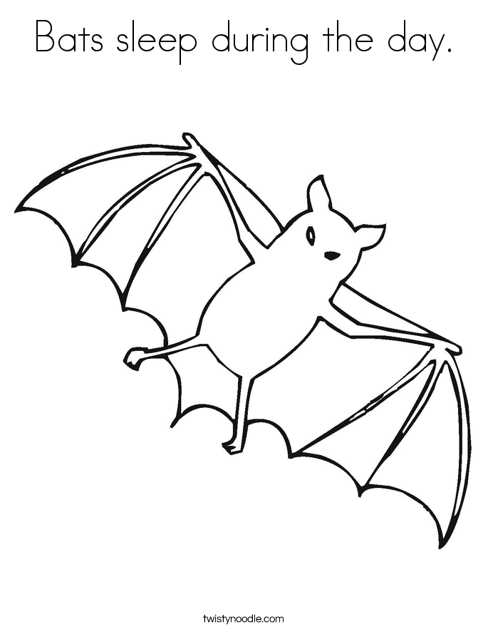 Bats sleep during the day. Coloring Page