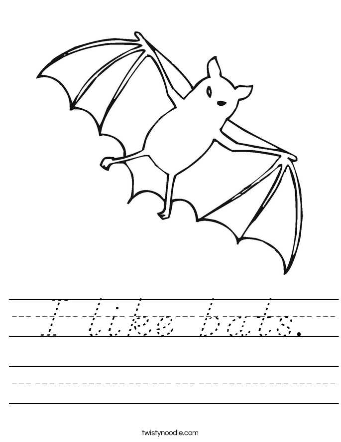 I like bats. Worksheet