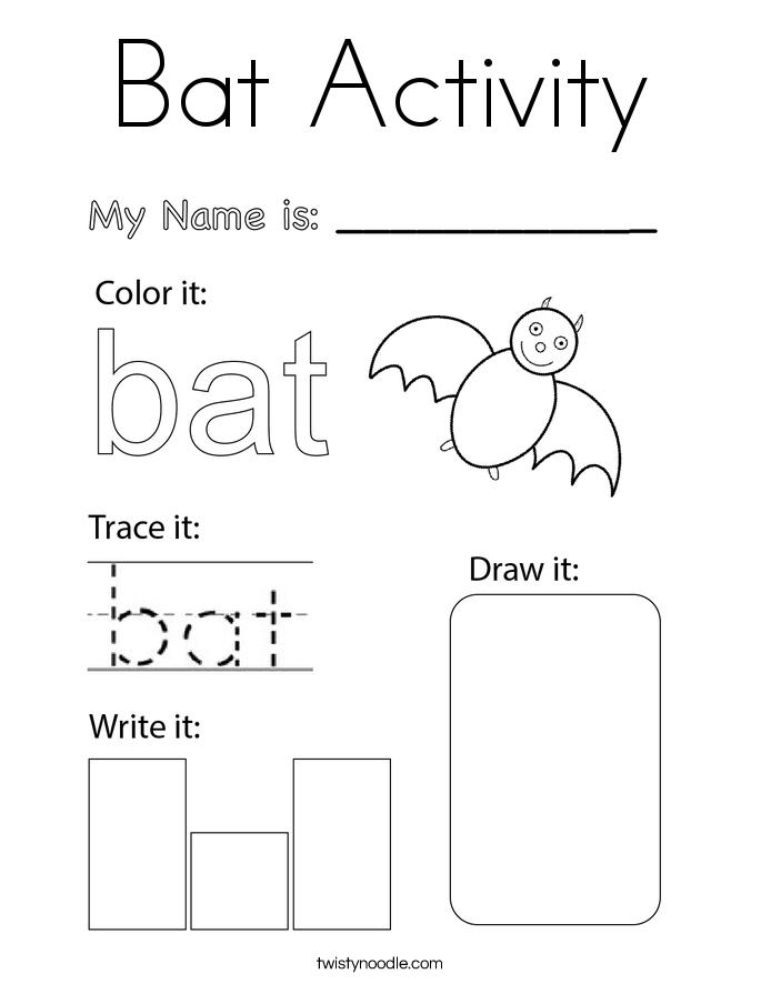 Bat Activity Coloring Page
