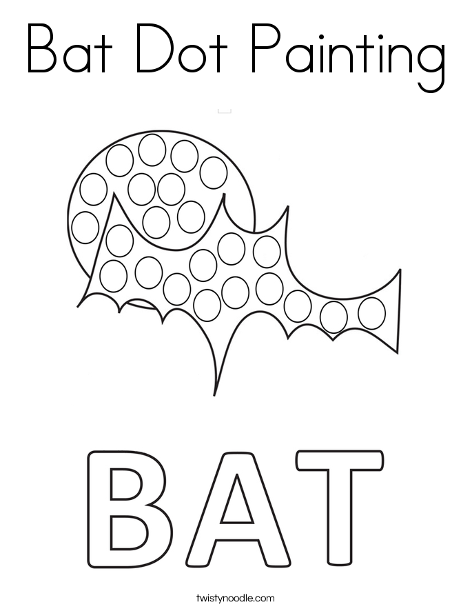 Bat Dot Painting Coloring Page