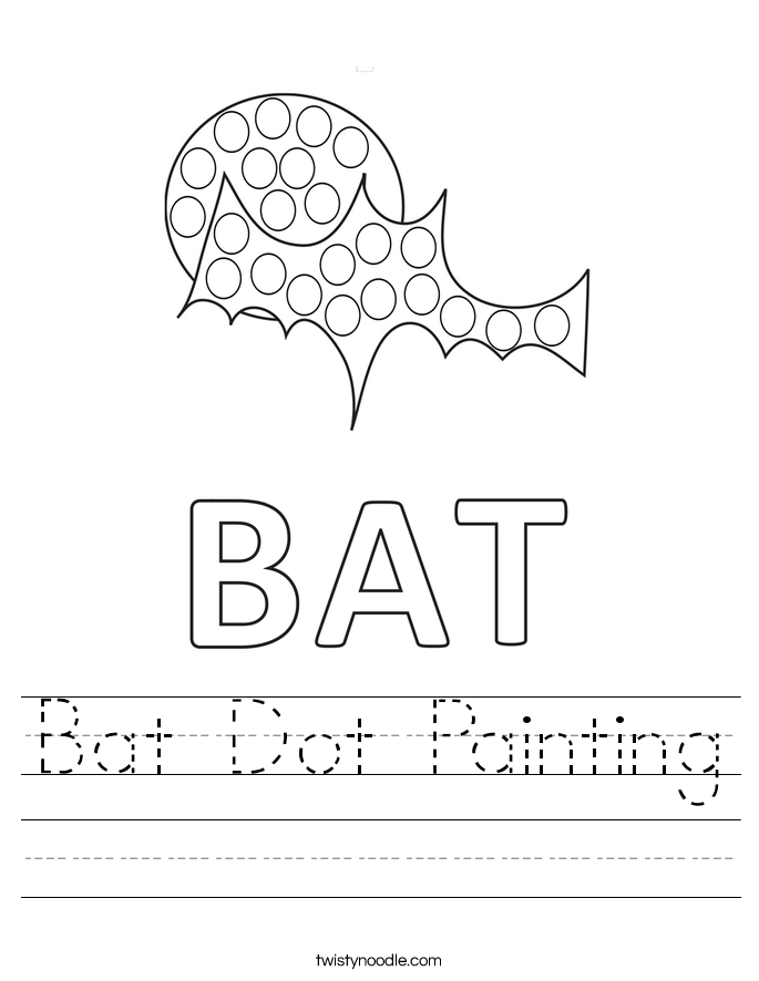 Bat Dot Painting Worksheet