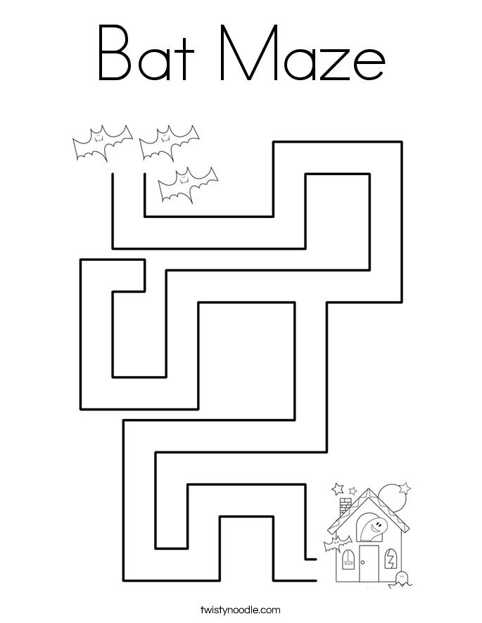 Bat Maze Coloring Page - Twisty Noodle
