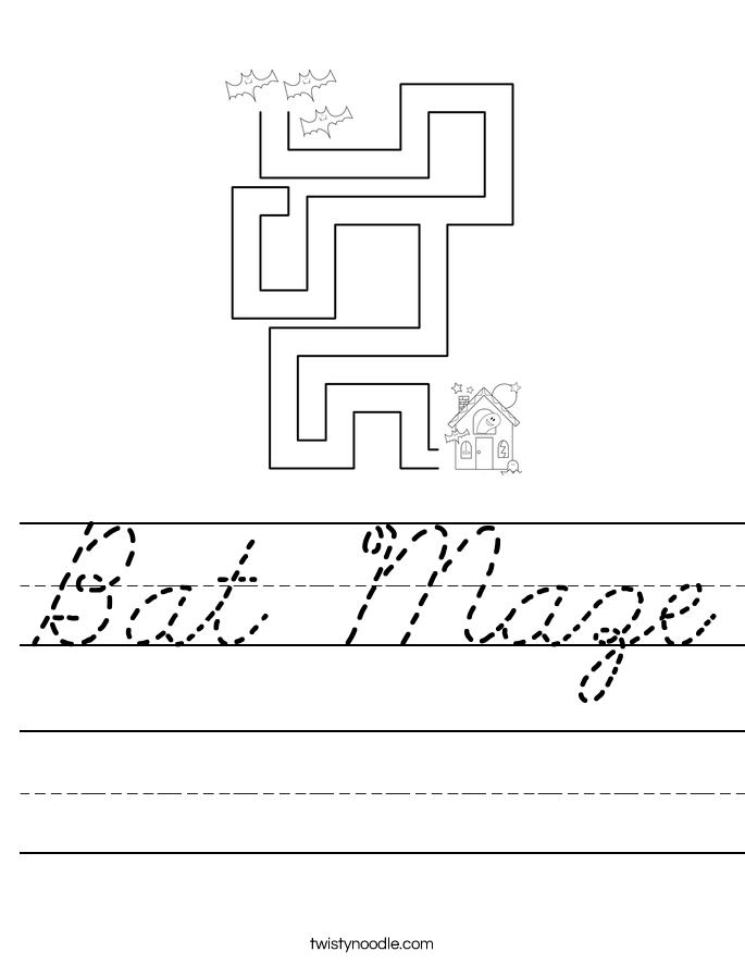 Bat Maze Worksheet