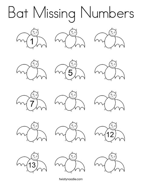 Bat Missing Numbers Coloring Page