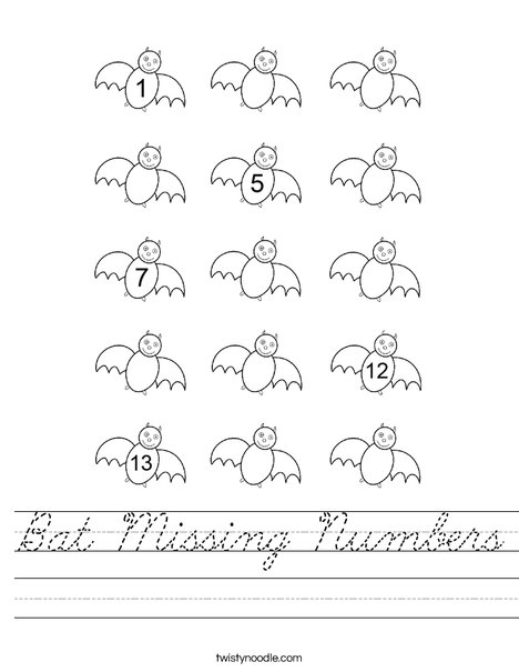 Bat Missing Numbers Worksheet