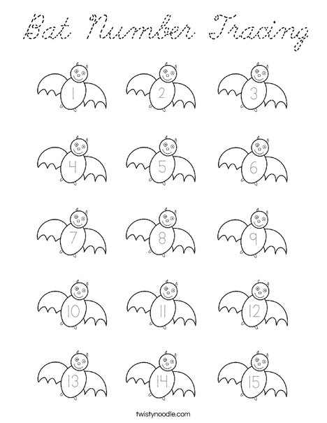 Bat Number Tracing Coloring Page