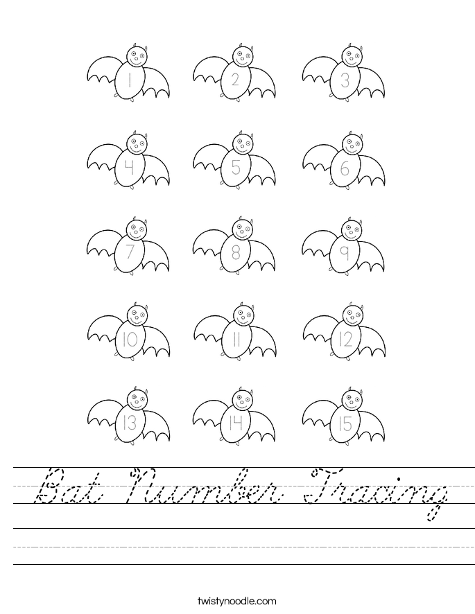 Bat Number Tracing Worksheet