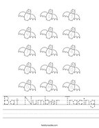 Bat Number Tracing Handwriting Sheet