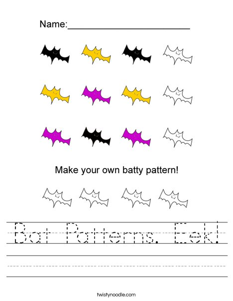 Bat Pattern Worksheet