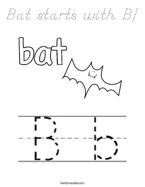 Bat starts with B! Coloring Page