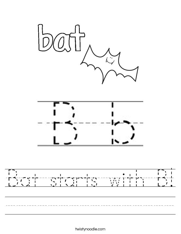 Bat starts with B! Worksheet