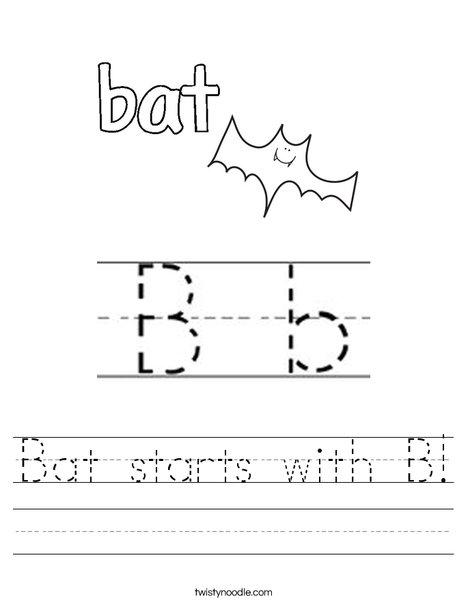 Bat starts with B Worksheet - Twisty Noodle