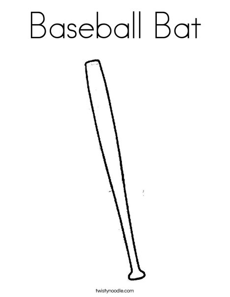 Baseball Bat Coloring Page Twisty Noodle