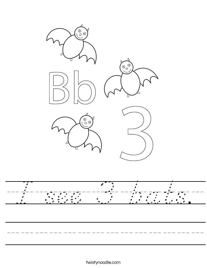 I see 3 bats. Worksheet