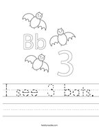 I see 3 bats Handwriting Sheet
