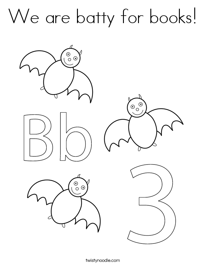 We are batty for books! Coloring Page