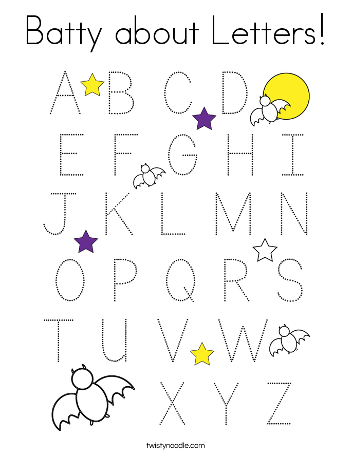Batty about Letters! Coloring Page