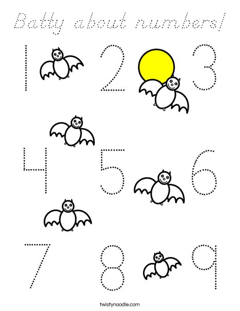 Batty about numbers! Coloring Page