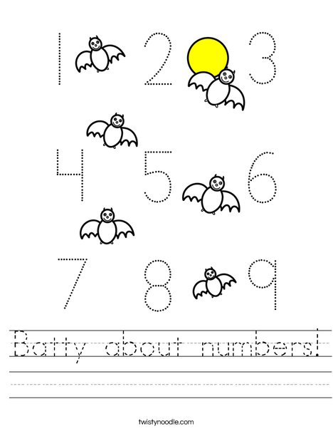 Batty about numbers! Worksheet