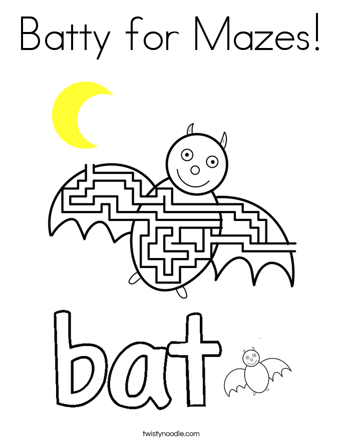 Batty for Mazes! Coloring Page