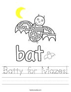 Batty for Mazes Handwriting Sheet