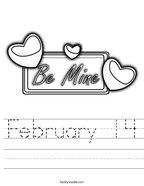 February 14 Handwriting Sheet