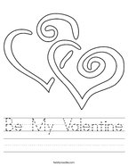 Be My Valentine Handwriting Sheet