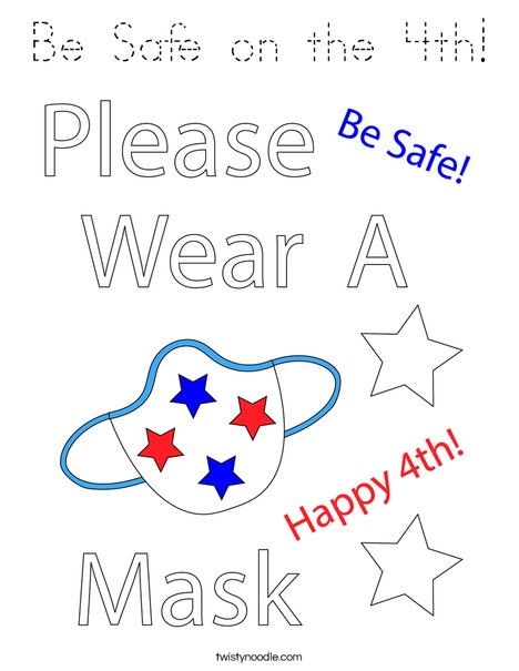 Be Safe on the 4th! Coloring Page