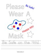 Be Safe on the 4th Handwriting Sheet