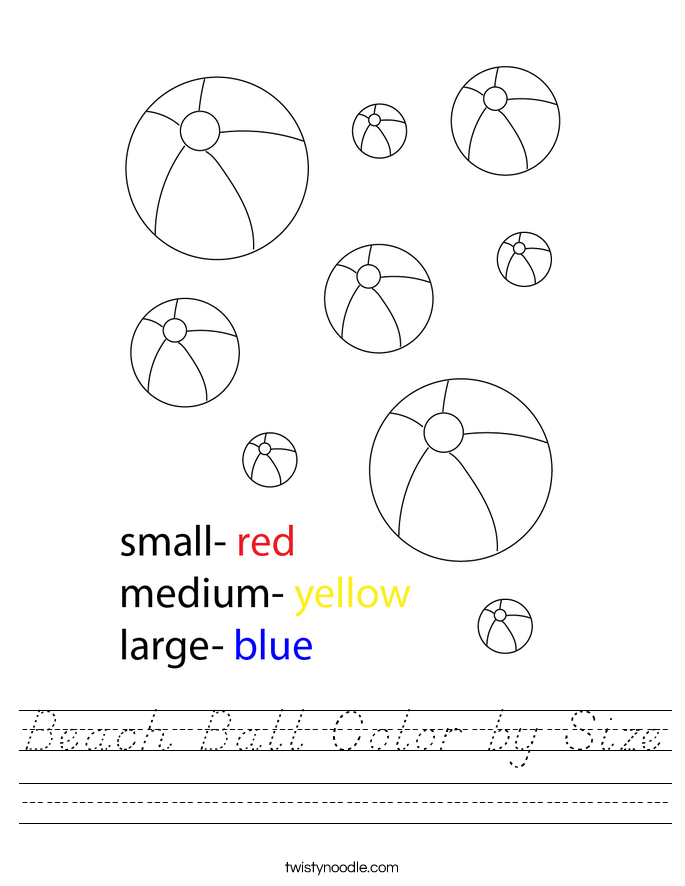 Beach Ball Color by Size Worksheet