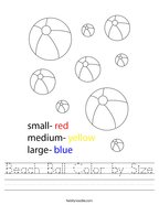 Beach Ball Color by Size Handwriting Sheet