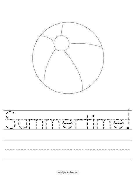 Beach Ball Worksheet