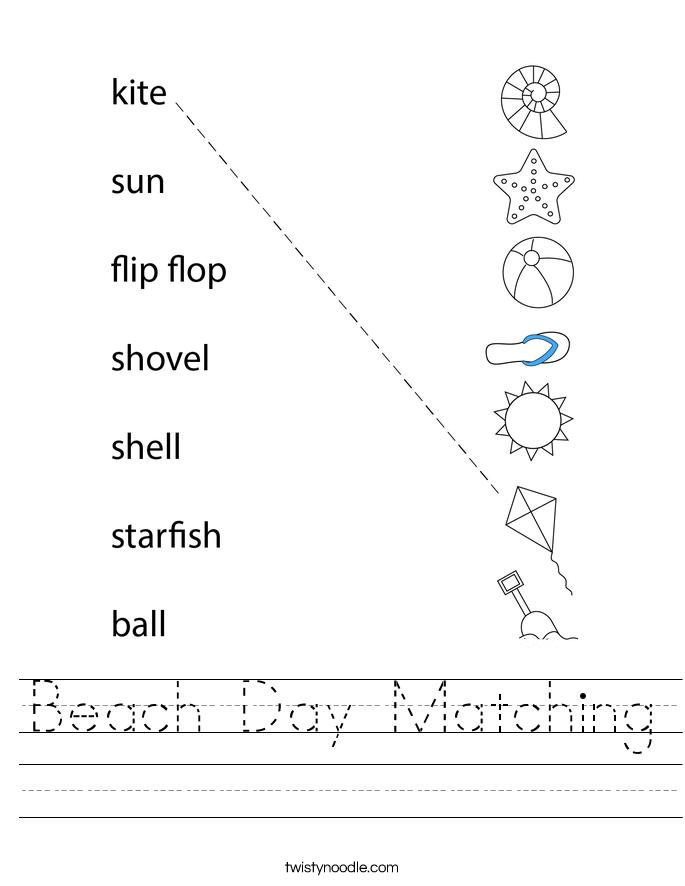 Beach Day Matching Worksheet