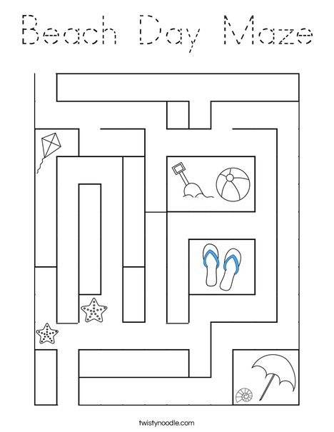 Beach Day Maze Coloring Page
