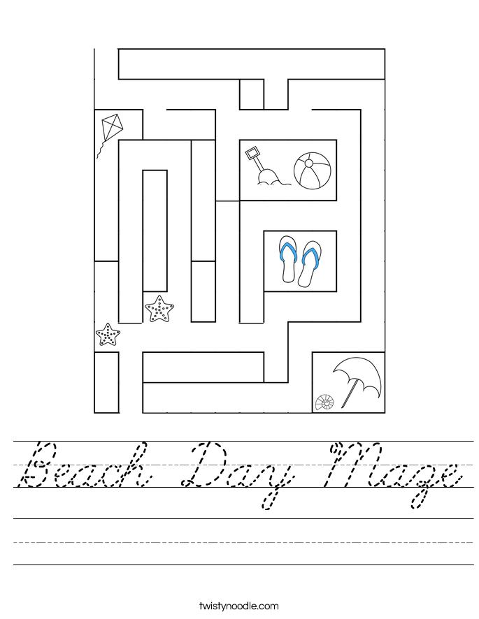 Beach Day Maze Worksheet
