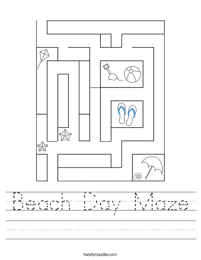 Beach Day Maze Worksheet