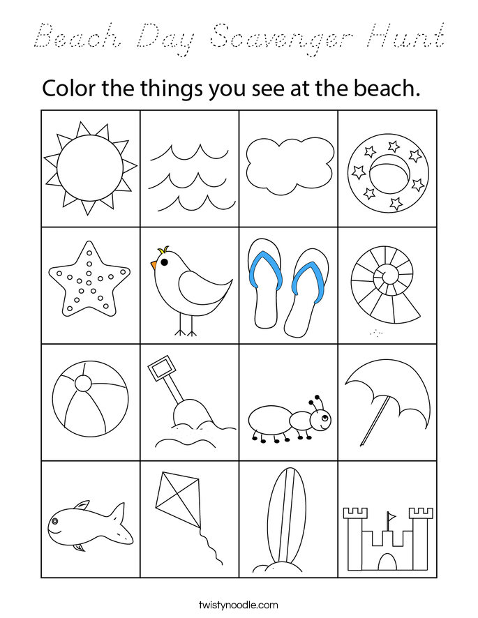 Beach Day Scavenger Hunt Coloring Page