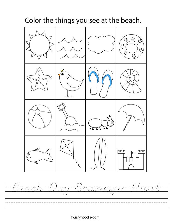 Beach Day Scavenger Hunt Worksheet
