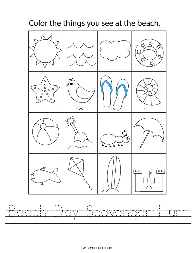 Beach Day Scavenger Hunt Worksheet